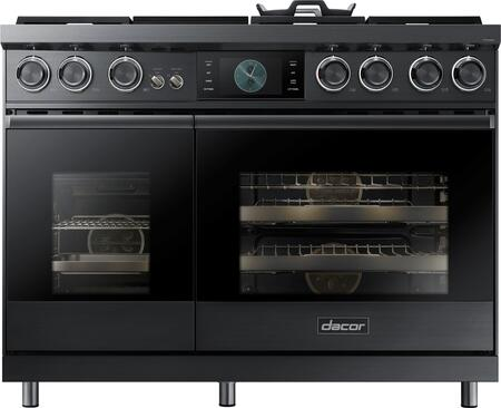 Dacor Contemporary DOP48M96DPM Freestanding Dual Fuel Range Graphite Stainless Steel, Front View