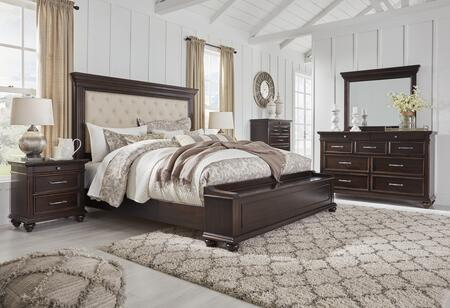 Signature Design By Ashley Brynhurst Collection B78815754s965set 5 Pc Bedroom Set With Queen Size Storage Bed Dresser Mirror Chest And Nightstand In Dark Brown Finish Appliances Connection