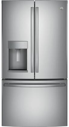 "GE GFD28GSLSS 36"" Freestanding French Door Refrigerator with 27.8 cu. ft. Total Capacity"