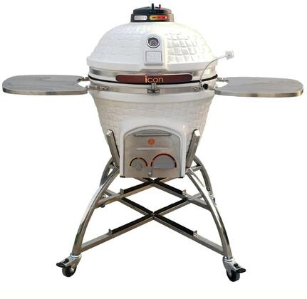 CG701WHITE 55″ 700 Series Kamado Grill on Storage Cart with 714 sq. in. Cooking Area  Pull-Out Ash Drawer  Color-Coded HeatZone Electric Starter Port