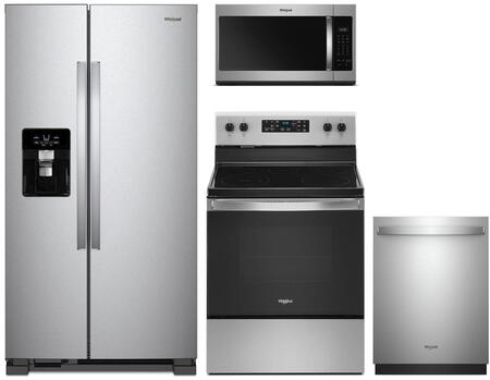 4  Piece Kitchen Appliances Package with WRS555SIHZ 36″ Side by Side Refrigerator  WFE505W0JZ 30″ Electric Range  WMH31017HZ 30″ Over the Range