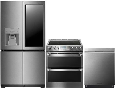 """3-Piece Kitchen Appliances Package with LUPXC2386N 36"""" French 4 Door Refrigerator LUTE4619SN 30"""" Slide-In Electric Range and LUDP8908SN 24"""" Smart"""