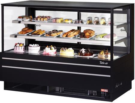 Turbo Air TCGB72UFBN Display and Merchandising Refrigerator Black, TCGB72UFBN Angled View