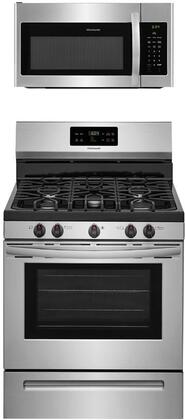 """2-Piece Kitchen Appliance Package with FFGF3054TS 30"""" Freestanding Gas Range and FFMV1645TS 30"""" Over the Range Microwave in Stainless"""