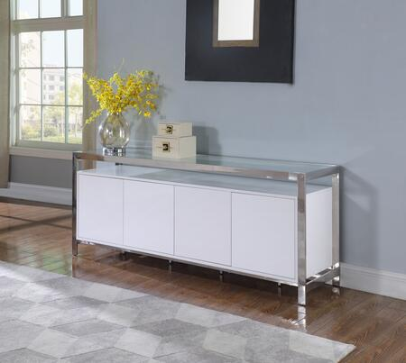 KRISTA-BUF Modern Buffet with Stainless Steel & Tempered Glass Top in Gloss