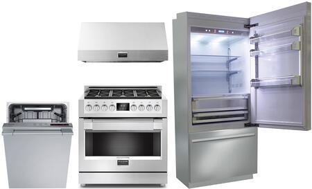 4 Piece Kitchen Appliances Package with BKI36BIRS 36″  Freezer Refrigerator  F6PGR366S1 36″ Gas Range  F6PH36S1 36″ Under Cabinet Convertible Hood