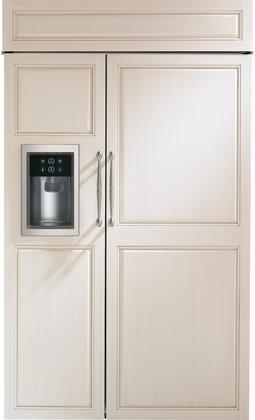 "Monogram Appliances  ZISB480DK Side-By-Side Refrigerator Panel Ready, ZISB480DK 48"" Built-In Side-by-Side Refrigerator with Dispenser"