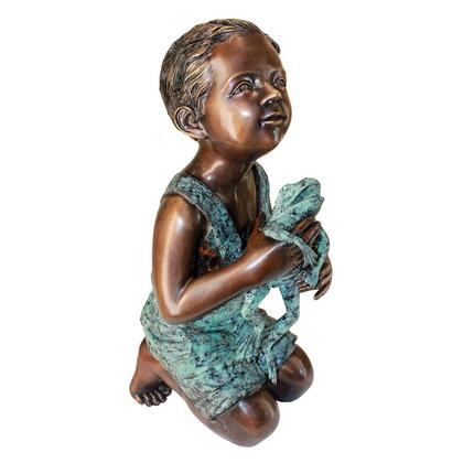 AS526040 New Friend Boy With Frog Bronze