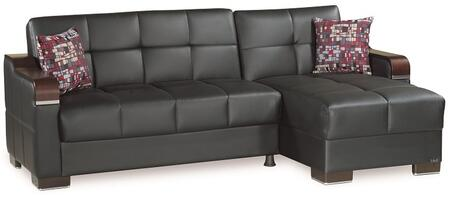 Casamode Down Town DOWNTOWNSECTIONALLCBLACKPU11448 Sectional Sofa Black, Main Image