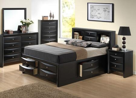 Glory Furniture G1500G G1500GFSB3DMN Bedroom Set Black, Main Image