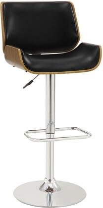 Bar Units and Bar Tables 130502 25-31 Adjustable Bar Stool with Distressed Walnut Wood Back  Silver Colored Base  Foot Rest and Faux Leather
