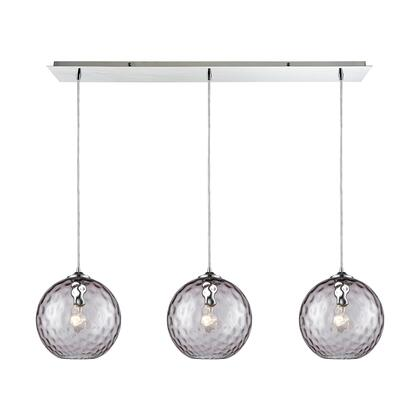 31380/3LP-PRP Watersphere 3 Light Linear Pan Fixture in Polished Chrome with Purple Hammered