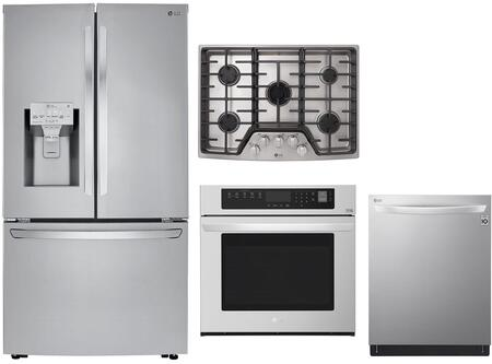 4 Piece Kitchen Appliances Package with LRFXC2406S 36″ French Door Refrigerator  LWS3063ST 30″ Electric Single Wall Oven  LSCG307ST 30″ Gas Cooktop