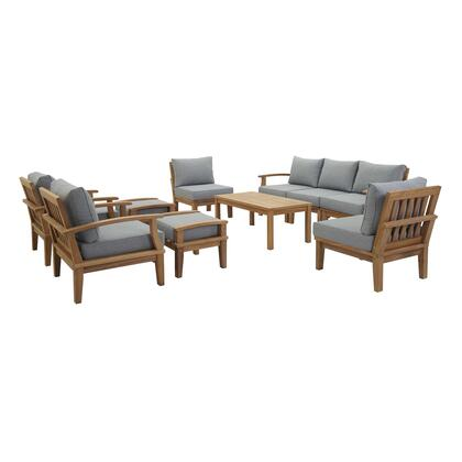 Marina Collection EEI-1480-NAT-GRY-SET 10 PC Outdoor Patio Teak Set in Natural Grey