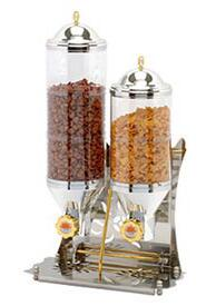 SUNRISE 2 Commercial 2 Cylinder Cereal and Nut Dispenser Tank with Tray  7.2 L (2 gal)