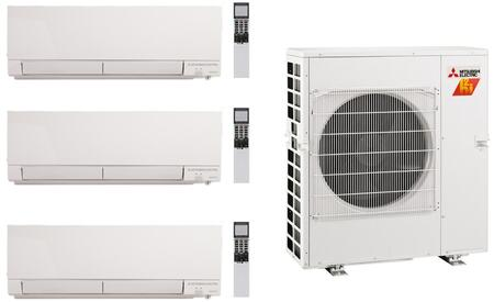 Mitsubishi M Series 977992 Triple-Zone Mini Split Air Conditioner White, 1