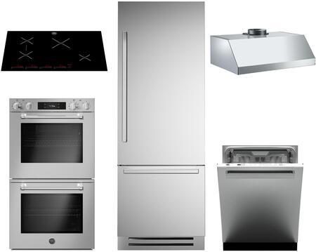 Bertazzoni 1128154 5 piece Stainless Steel Kitchen Appliances Package