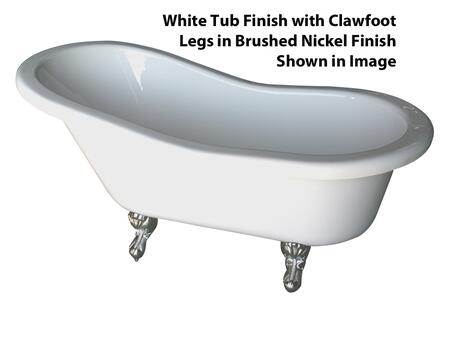 Barclay  ADTS60WHBN Bath Tub White, White Tub Finish with Clawfoot Legs in Brushed Nickel Finish Shown
