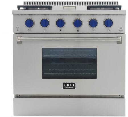 KRG3609U/LP-B 36″ Professional-Class Liquid Propane Range with 5.2 cu. ft. Convection Oven  4 Top Burners  18500 BTU Griddle  Heavy Duty Cast-Iron