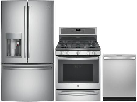 3 Piece Wi-Fi Connected Kitchen Appliances Package with PYE22PSKSS 36″ French Door Refrigerator  P2B940SEJSS 30″ Dual Fuel Gas Range and PDT785SYNFS