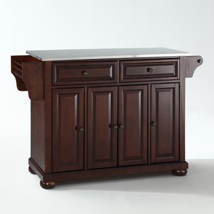 Alexandria Collection KF30002AMA Stainless Steel Top Island/Cart in Mahogany