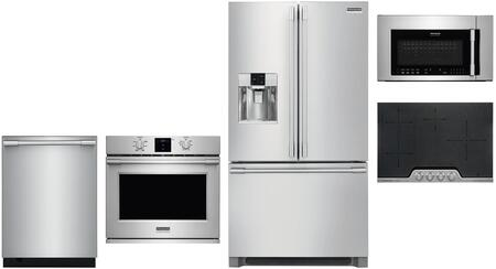 5 Piece Kitchen Appliances Package with 36″ French Door Refrigerator  30″ Electric Single Wall Oven  30″ Electric Cooktop  30″ Over the Range