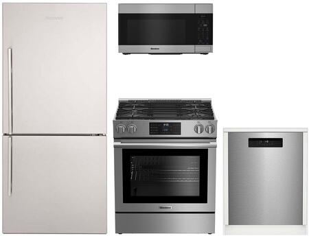 4 Piece Kitchen Appliances Package with BRFB1822SSN 30″ Bottom Freezer Refrigerator  BGR30420SS 30″ Slide-in Gas Range  BOTR30100SS 30″ Over the