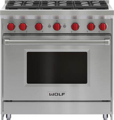 Wolf GR366 Freestanding Gas Range Stainless Steel, Front View