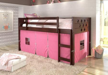 780A-TCP-750C-TP 79″ Low Loft with Pink Colored Tent  Built in Ladder  Circle Cut Out Design Headboard and Footboard in Dark