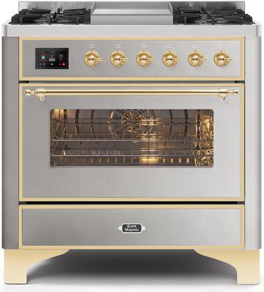 UM09FDNS3SSG 36″ Majestic II Series Dual Fuel Natural Gas Range with 6 Burners and Griddle  3.5 cu. ft. Oven Capacity  TFT Oven Control Display