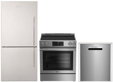 """3-Piece Kitchen Appliances Package with BRFB1812SSLN 30"""" Bottom Freezer Refrigerator BERU30420SS 30"""" Electric Range and DWT81800SS 24"""" Built In"""