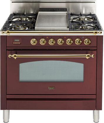 Ilve Nostalgie UPN90FDVGGRB Freestanding Gas Range Red, UPN90FDVGGRB Gas Range