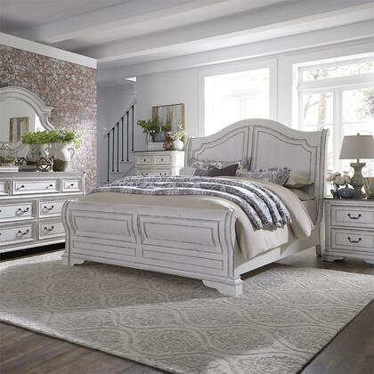 Liberty Furniture Magnolia Manor 244BRQSLDMCN Bedroom Set White, 244 br qsldmcn