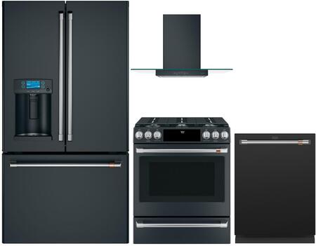 4 Piece Kitchen Appliances Package with CYE22TP3MD1 36″ French Door Refrigerator  CGS700P3MD1 30″ Slide-in Gas Range  CVW73013MDS 30″ Wall Mount