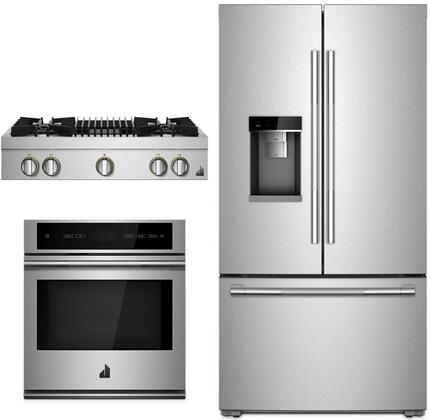 """3 Piece RISE Series Kitchen Appliances Package with JFFCC72EHL 36"""" French Door Refrigerator JJW2427IL 27"""" Electric Single Wall Oven and JGCP636HL"""
