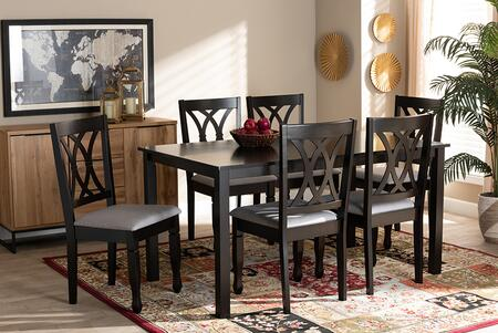 Wholesale Interiors Reneau RH316CGREYDARKBROWN7PCDININGSET Dining Room Set Gray, 9404 10528 10519 6