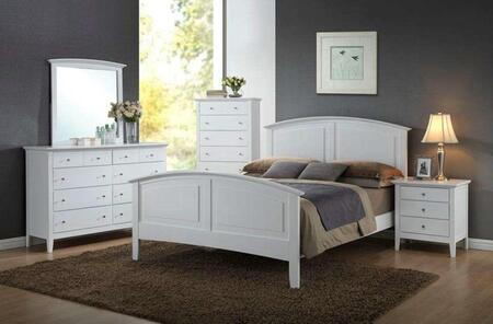 Whistler Collection WH801QNCMDR 5-Piece Bedroom Set with Queen Bed  Nightstand  Chest  Mirror and Dresser in White