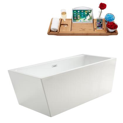 M-2220-67FSWH-DM 67″ Soaking Freestanding Tub and Tray With Internal Drain in White