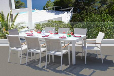 Fine Line Essence Collection GR01409WTB2039G 9 Piece Outdoor Dining Set with Frosted Glass Top  Rectangular Shape  Rust Proof Aluminum Frame and Mesh
