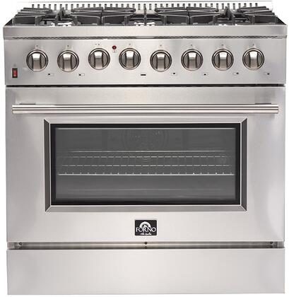 FFSGS6156-36 36″ Stainless Steel Dual Fuel Range with 5.36 cu. ft. Capacity  6 Italian Defendi Burners  Convection Fan and Cast Iron