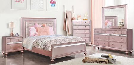 Furniture of America Avior CM7170RGTBEDNSCHDRMR Bedroom Set Pink, CM7170RG-T-BED-NSCHDRMR