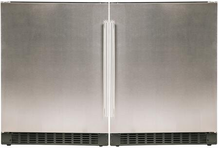"""48"""" Stainless Steel Side-by-Side Refrigerator with A124RS 24"""" Left Hinge Refrigerator and A124RS 24"""" Right Hinge"""