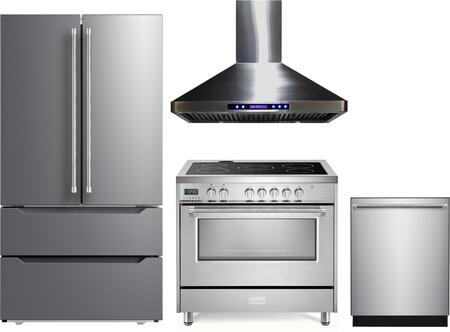 4 Piece Kitchen Appliances Package with VERF36CDSS 36″ French Door Refrigerator  VDFSEE365SS 36″ Electric Range  VEHOOD36CH 36″ Wall Mount Range Hood