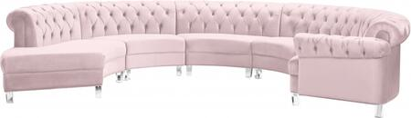 Meridian Anabella 697PINKSEC5PC Sectional Sofa Pink, 697PINKSEC5PC Main Image