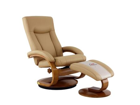 Hamilton Collection HAMILTON054032 Recliner and Ottoman with Swivel Base  Memory Foam Seating  Adjustable Headrest and Top Grain Leather Upholstery