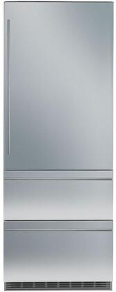 30″ Bottom Freezer Refrigerator with 84″ Height Door Panels and Tubular Handles in Stainless