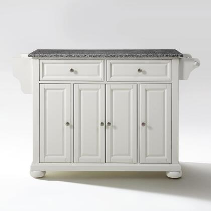 Alexandria Collection KF30003AWH Granite Top Island/Cart in White