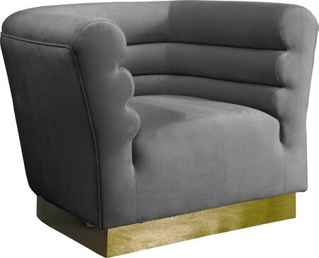 Bellini 669GREY-C 44″ Chair with Piped Stitching  Gold Stainless Steel Base and Velvet Upholstery in