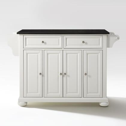 Alexandria Collection KF30004AWH Granite Top Island/Cart in White