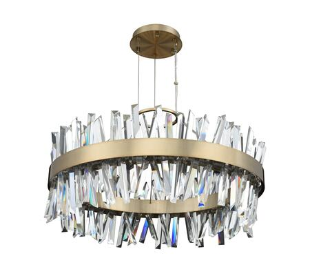 Glacier 030255-038 32″ Round LED Pendant in Brushed Champagne Gold Finish with Firenze Crystal Spears